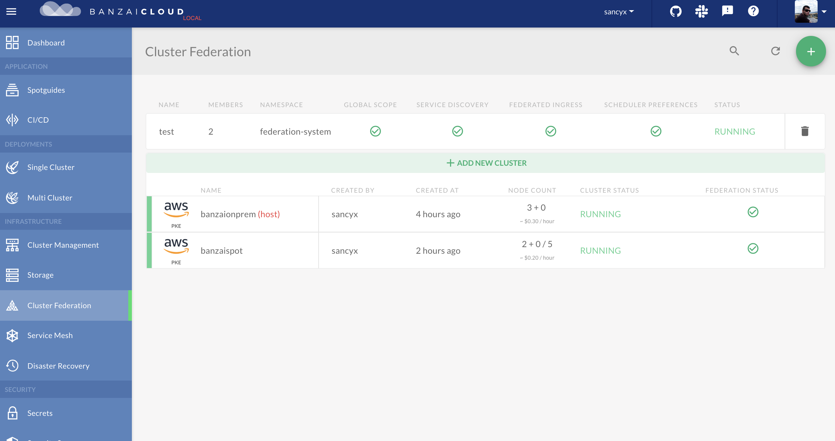 Cluster Federation in Pipeline UI